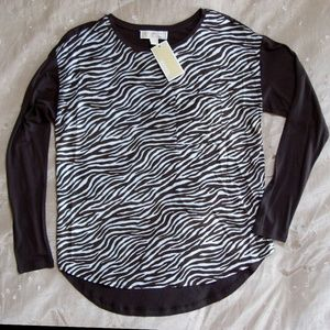Michael Kors Mix Media Zebra Long Sleeve Shirt